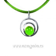 Colgante plata círculos cristal verde claro