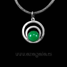 Colgante plata círculos cristal verde oscuro