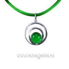 Colgante plata círculos cristal verde