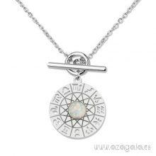 Gargantilla colgante plata circulo grabado con símbolos del zodíaco
