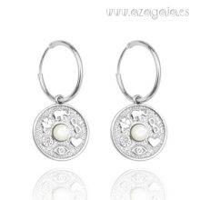Pendiente aro plata circulo colgando-símbolos de la suerte