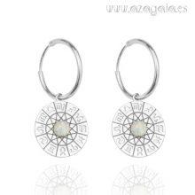 Pendiente aro plata símbolos del zodíaco