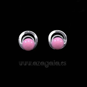 Pendiente plata círculos cristal color rosa cierre presión