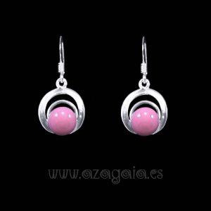 Pendiente plata círculos cristal color rosa