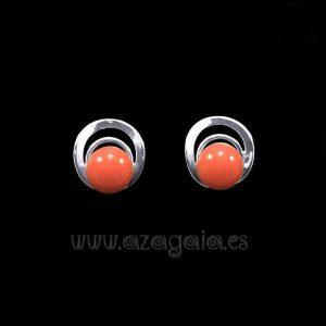 Pendiente plata círculos cristal color salmón cierre presión