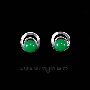 Pendiente plata círculos cristal verde oscuro cierre presión