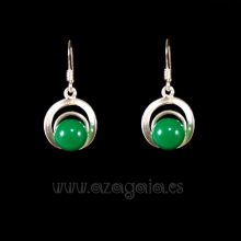 Pendiente plata círculos cristal verde oscuro