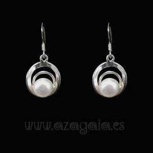Pendiente plata círculos con perla